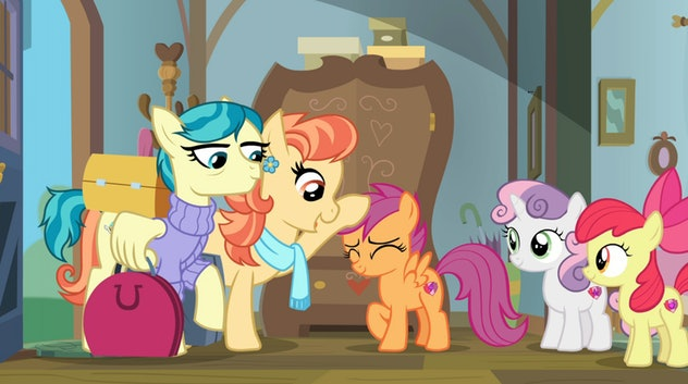 My Little Pony's first lesbian characters, Aunt Holiday and Auntie Lofty, are Scootaloo's guardians.