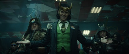 Loki appears in campaign attire in a promo for 'Loki,' which premieres June 9. Photo via Disney+