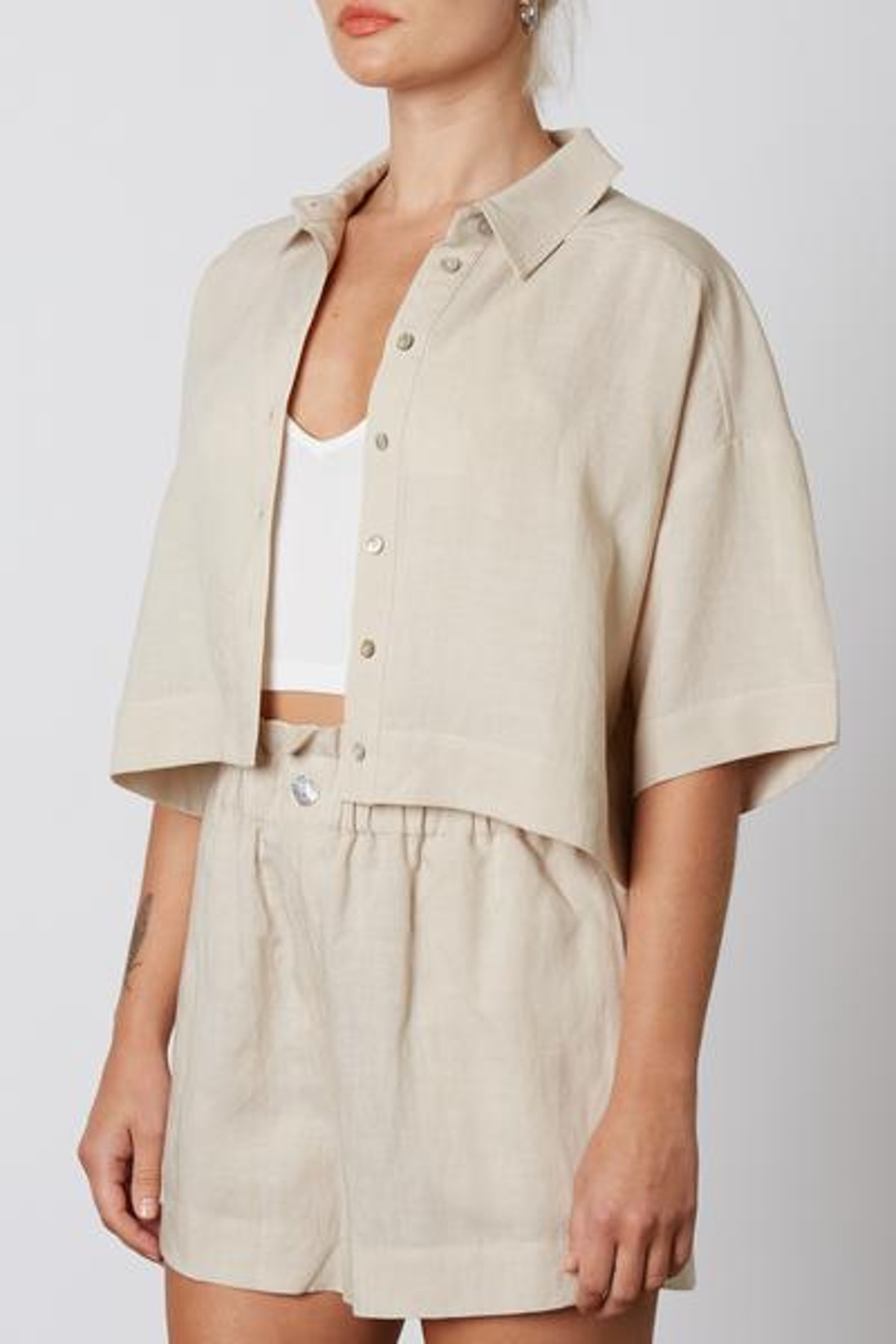 Cropped Linen Shirt