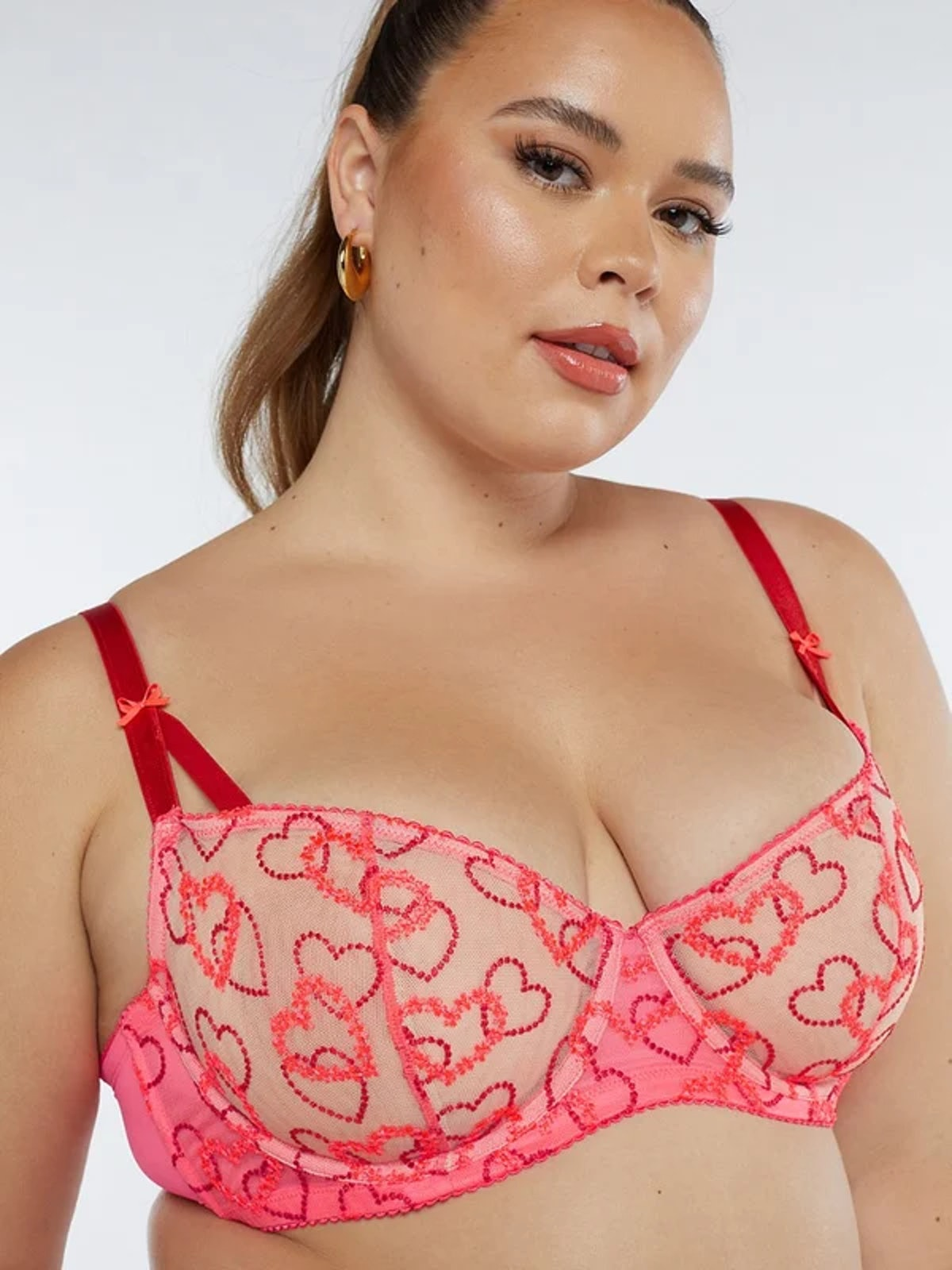 Linking Hearts Embroidery Unlined Lace Balconette Bra