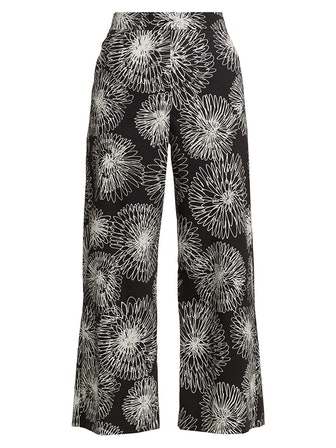 Drawing Flowers Printed Stretch Poplin Wide-Leg Trousers