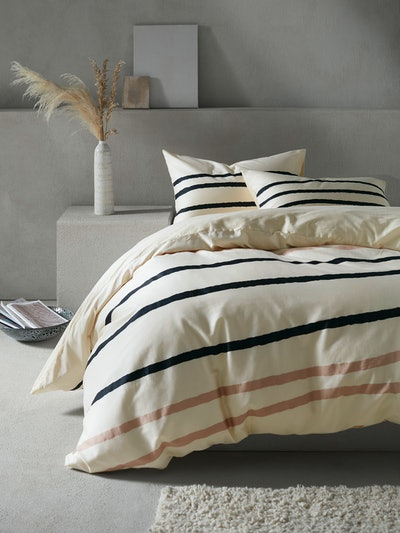 Mother or Pearl Linear Organic Duvet Cover Set