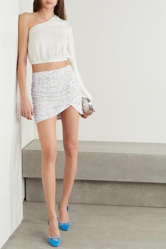 Celestia Ruched Sequined Crepe De Chine Mini Skirt