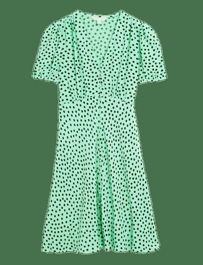 M&S X Ghost Polka Dot V-Neck Puff Sleeve Tea Dress