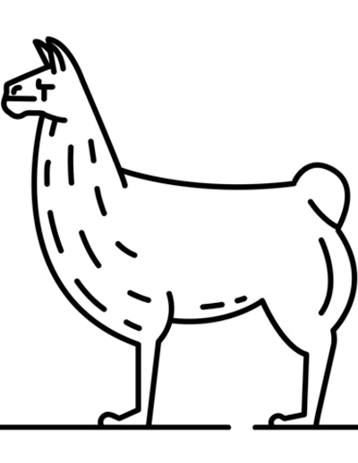 a kids coloring page featuring a simple line drawing of a llama in profile