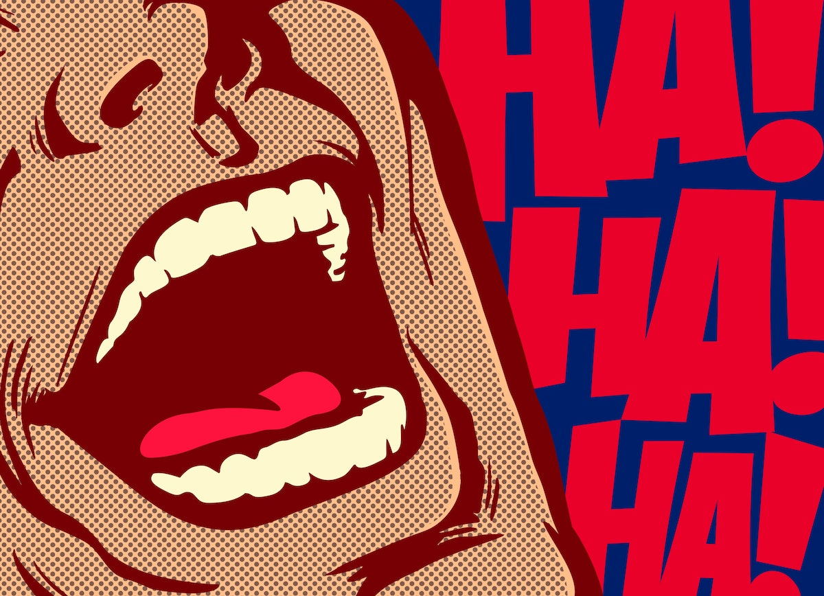 Pop art style comics panel mouth of man laughing out loud comedy lol vector illustration