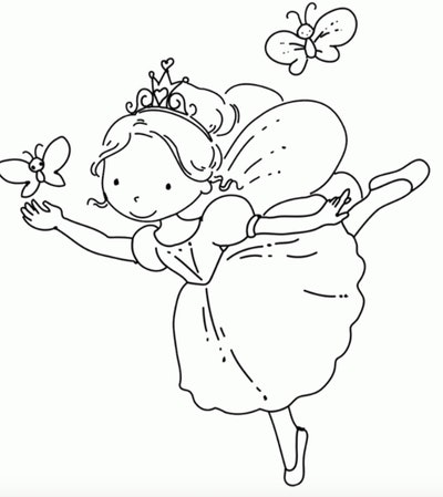Picture of princess ballerina surrounded by two butterflies