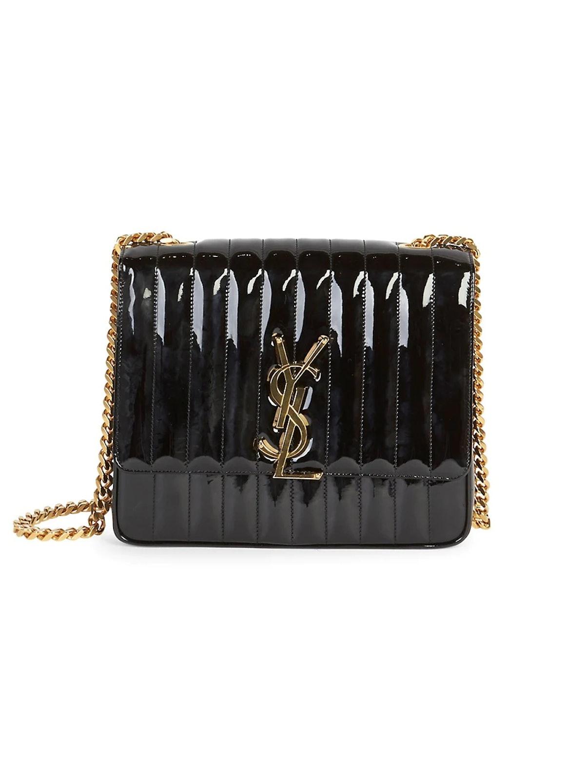 Large Vicky Matelassé Patent Leather Shoulder Bag