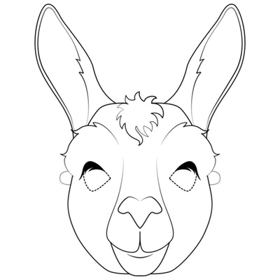 kids' coloring page featuring llama closeup up face that can be used to make a mask