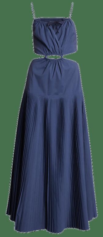 Rem Pleated Poplin Cutout Maxi Dress
