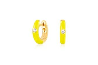 Diamond Yellow Enamel Huggie Earring