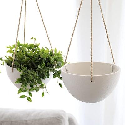 LA JOLIE MUSE White Hanging Planter Basket (Set of 2)