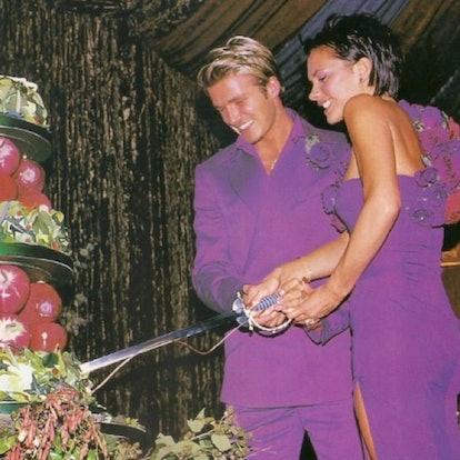 David and Victoria Beckham matching in purple at their wedding