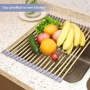 Freshmage Roll Up Dish Bamboo Drying Rack