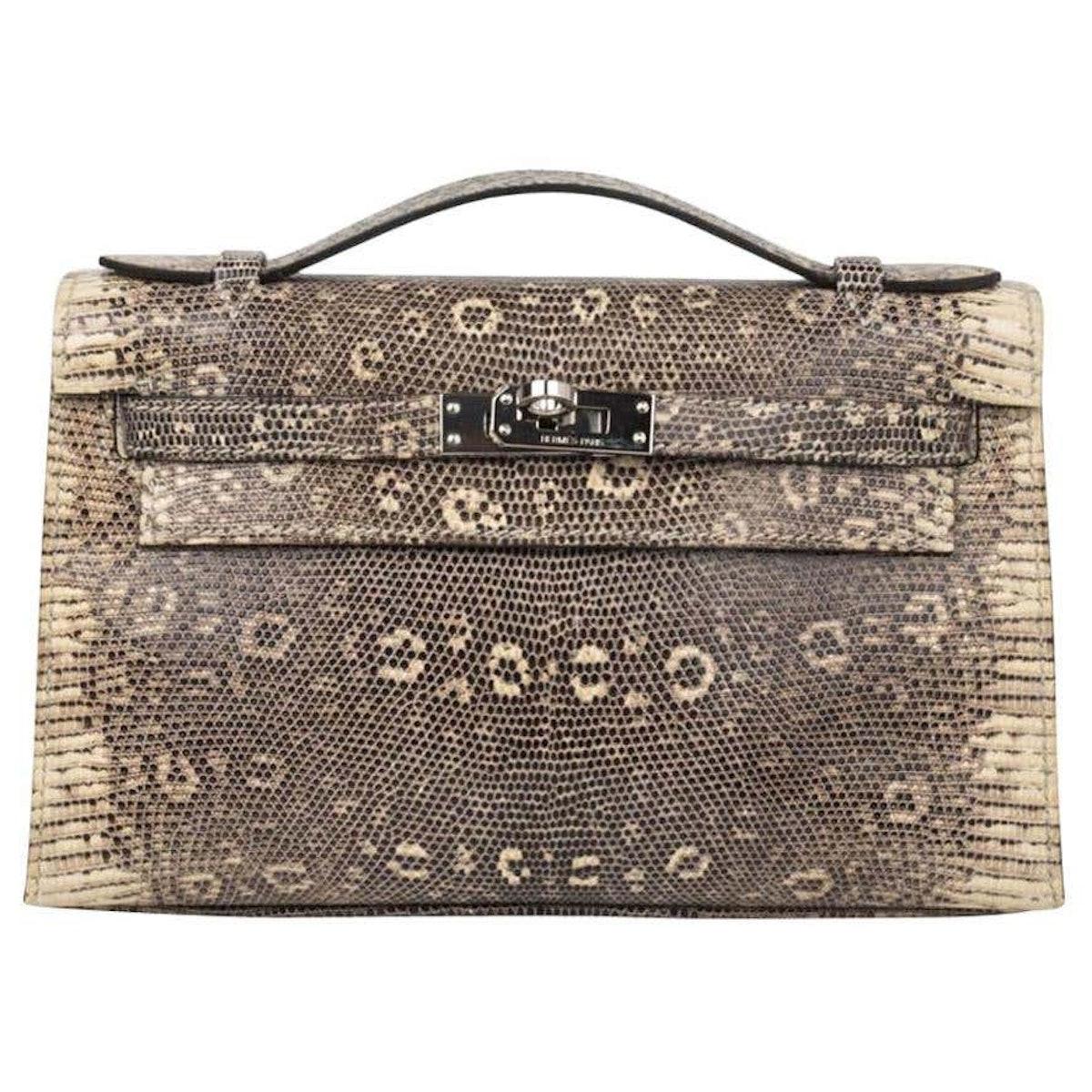 Kelly Pochette Bag Ombre Lizard Clutch