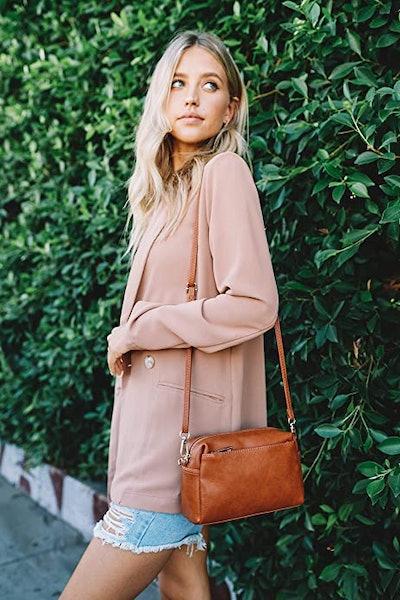 FashionPuzzle Triple-Zip Crossbody Bag