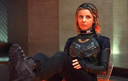 Sophia Di Martino as Sylvie, in a Loki easter egg outfit