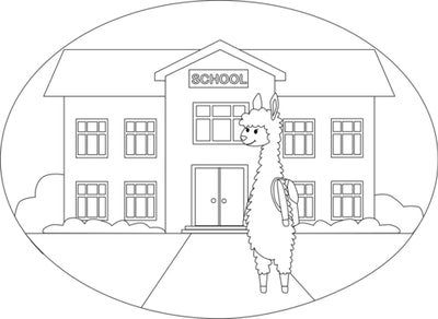 a kids coloring page featuring a llama outside a school building
