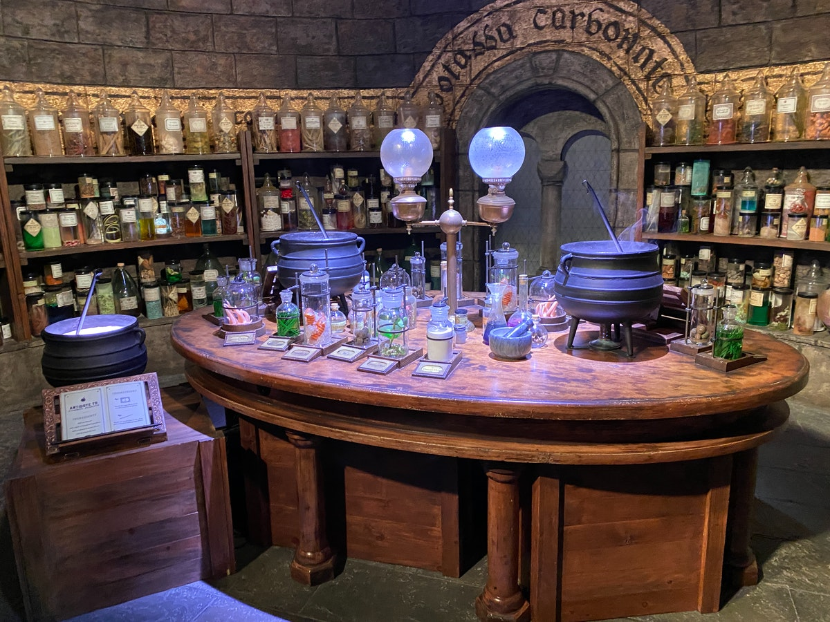 A potions class photo opp is available in the 'Harry Potter' section of the Warner Bros. Studio Tour.