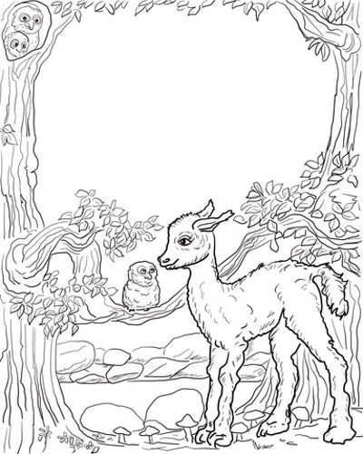 a kids coloring page featuring a cute llama baby next to an owl on a branch