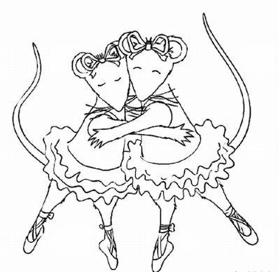 Two mice ballerinas hug while wearing tutus