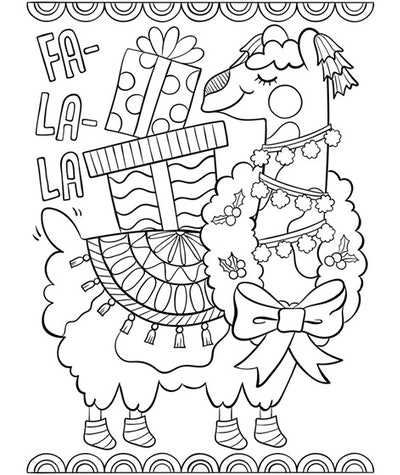 kids' coloring page featuring llama holding presents on its back with the words fa-la-la on the side