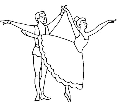 A couple dancing together with the woman on point being held by the male dancer's hand