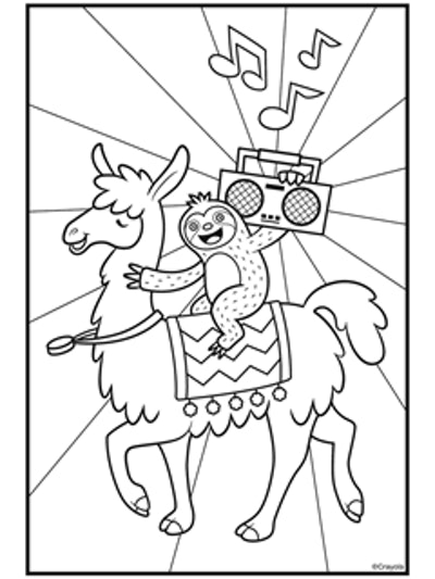 kids coloring page featuring a sloth holding a boombox, riding on a llama
