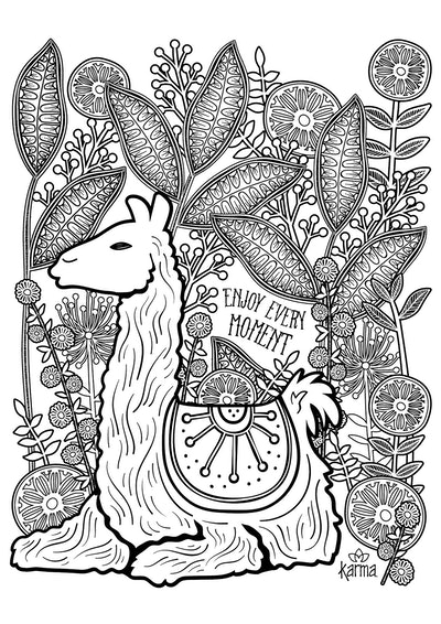 coloring page featuring intricate llama with maze-like design inside and on leaves