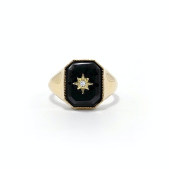Onyx Diamond Star Signet