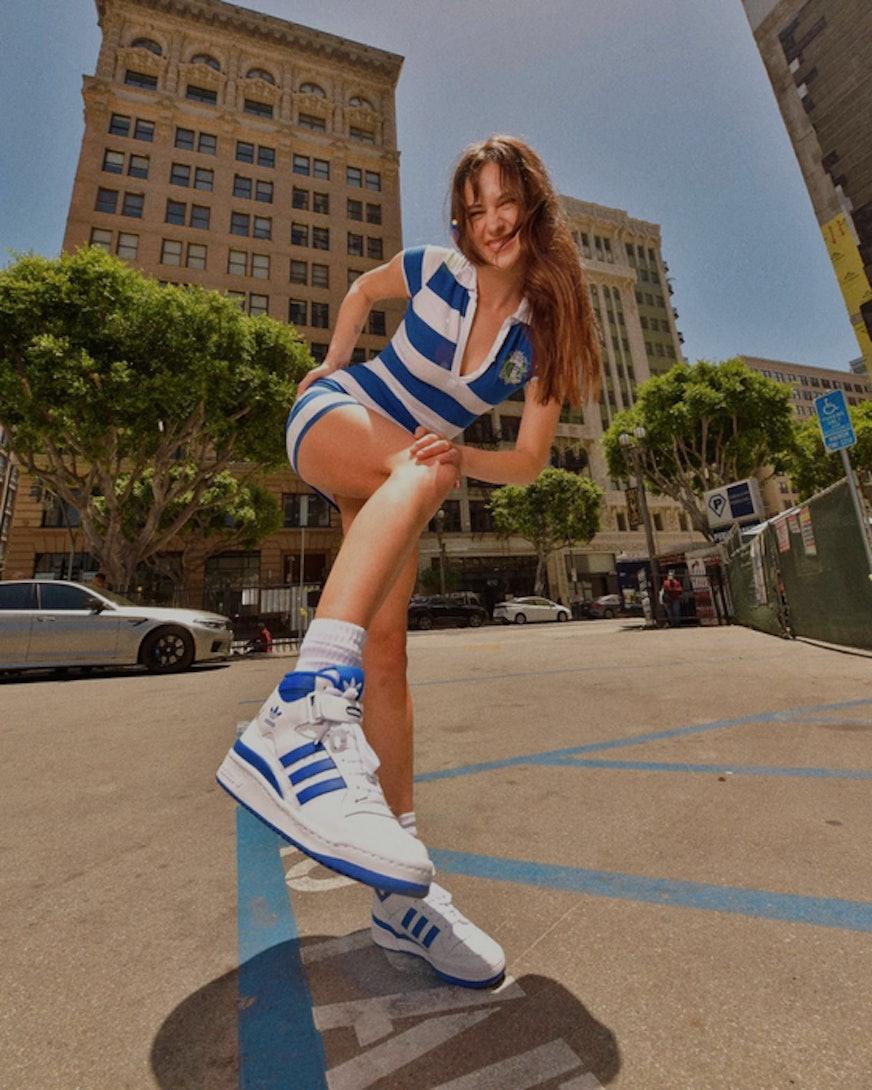 Devon Lee Carlson wearing the Adidas Forum Hi
