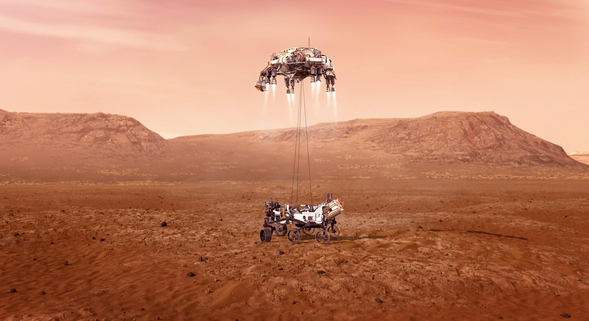 illustration of zhurong rover descending to Mars
