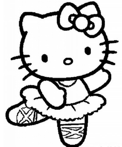 Picture of Hello Kitty as a ballerina wearing toe shoes