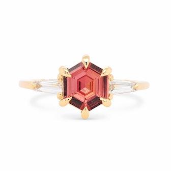 Zara Terracotta Hexagon Sapphire and Tapered Diamond Baguette Ring