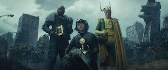 Boastful Loki, Kid Loki, Crocodile Loki, and Classic Loki in the Loki Episode 4 post-credits scene