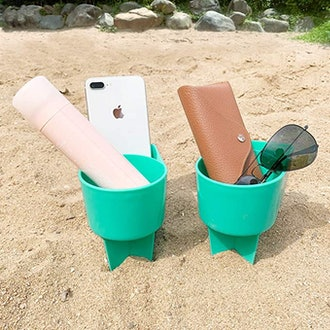 Home Queen Beach Cup Holder with Pocket (2-Pack)