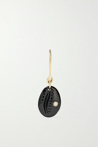 Cauri N°2 9-Karat Rose Gold, Onyx and Diamond Earring