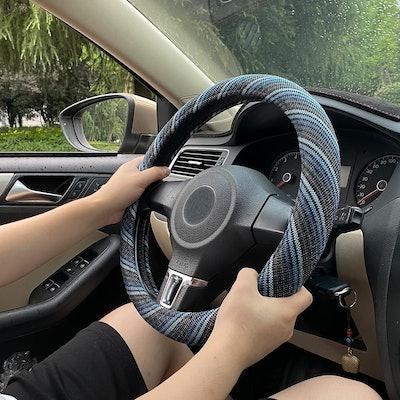 ZATOOTO Flax Linen Steering Wheel Cover