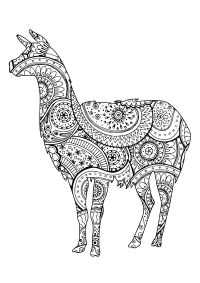 kids' coloring page featuring llama with intricate paisley design inside body