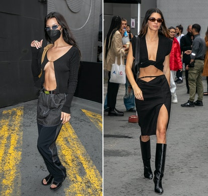 Bella Hadid and Kendall Jenner wearing black