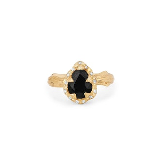 Micro Queen Water Drop Onyx Rose Thorn Ring with Sprinkled Diamonds