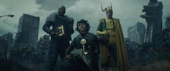 Classic Loki, Kid Loki, Crocodile Loki, and Boastful Loki in the Loki Episode 4 end credits scene