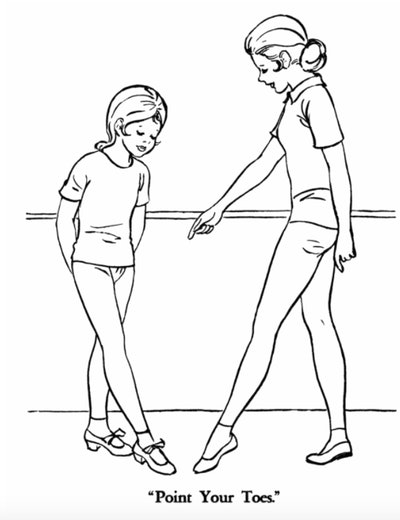 """Illustration of a ballet student and instructor being told to """"point your toes"""""""