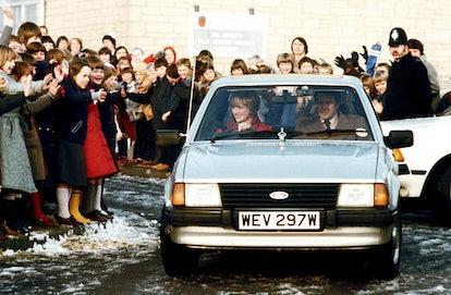 Princess Diana driving her Ford Escort