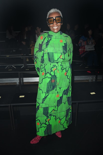 Bethann Hardison is seen on Gucci Front Row during Milan Fashion Week Fall/Winter 2020/21 on Februar...