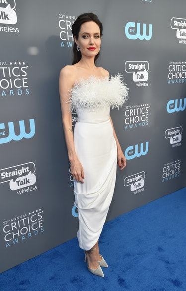 Angelina Jolie in a feathery gown