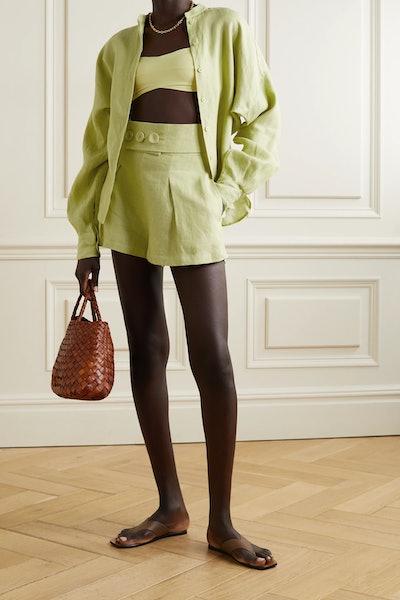 Millicent Belted Linen Shorts