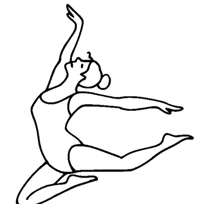 Illustration of a ballerina in a leotard leaping