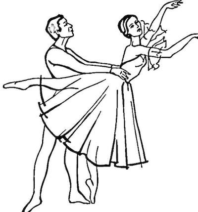 Pas de deux between two ballet dancers