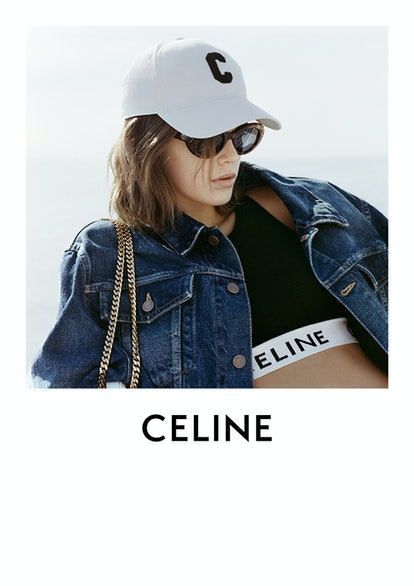 Kaia Gerber models items from Celine's French Summer capsule collection.